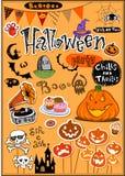 Halloween-plakboekelementen Stock Afbeeldingen