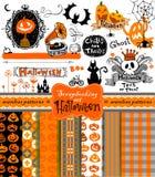 Halloween-plakboekvoorwerpen Stock Foto's