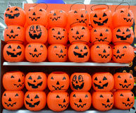 Halloween plastic pumpkins basket Stock Photo