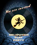 Halloween Play Party Invitation with Witch Graphic Royalty Free Stock Images