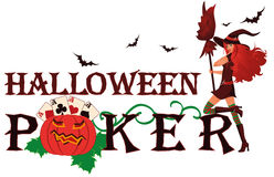 Halloween poker banner with pumpkin Stock Photo
