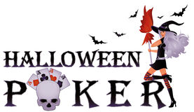 Halloween poker banner with skull Stock Photo