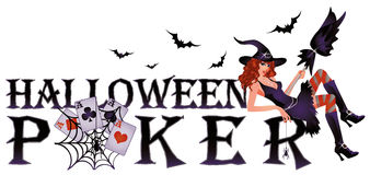 Halloween poker banner with spiderweb Royalty Free Stock Image
