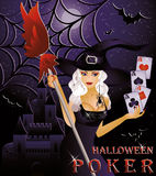 Halloween poker card with sexy witch. Vector illustration Royalty Free Stock Photo
