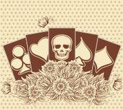 Halloween poker cards background, vector Stock Image
