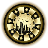 Halloween poker chip and castle Stock Images