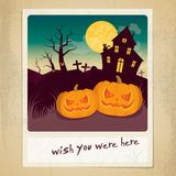 Halloween polaroid. With text and smiling pumpkins Royalty Free Stock Photo