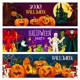 Halloween-pompoen, de groetbanner van het verschrikkingsmonster royalty-vrije illustratie