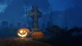 Halloween-pompoen dichtbij dwarsgrafsteen bij nacht Royalty-vrije Stock Foto's