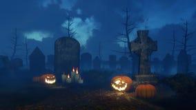 Halloween-pompoen dichtbij oude grafzerk bij nacht Stock Afbeeldingen