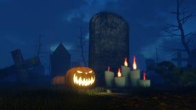 Halloween-pompoen en aangestoken kaarsen dichtbij grafsteen Stock Afbeelding