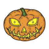 Halloween-pompoen handdraw stijl op witte achtergrond wordt geïsoleerd die stock illustratie