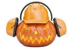 Halloween-pompoen met bouwvakker en oorverdedigers, het 3D teruggeven Stock Fotografie