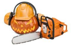 Halloween-pompoen met bouwvakker, oorverdedigers en kettingzaag, 3D r Royalty-vrije Stock Afbeelding
