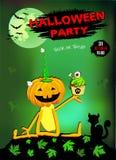 Halloween-pompoen met Cake, groene achtergrond stock fotografie