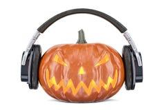 Halloween-pompoen met 3D hoofdtelefoons, Royalty-vrije Stock Fotografie