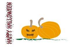 Halloween-pompoen met eng gezicht op wit vector illustratie