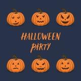 Halloween-pompoen met gesneden geplaatste gezichtenpictogrammen stock illustratie