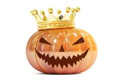 Halloween-Pompoen met Gouden Kroon, het 3D teruggeven Royalty-vrije Stock Foto
