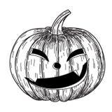 Halloween-pompoen met kwade enge glimlach in de grappige stijl van de de krabbelschets van de handtekening Stock Afbeeldingen