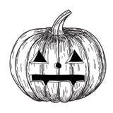 Halloween-pompoen met kwade enge glimlach in de grappige stijl van de de krabbelschets van de handtekening Stock Fotografie