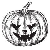 Halloween-pompoen met kwade enge glimlach in de grappige stijl van de de krabbelschets van de handtekening Royalty-vrije Stock Foto