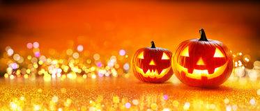 Halloween-Pompoen met Lichten Royalty-vrije Stock Afbeelding