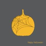Halloween-pompoen met spinneweb Stock Afbeelding