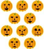 Halloween-pompoen met verschillende uitdrukkingen Royalty-vrije Stock Foto's