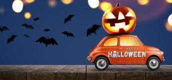 Halloween-pompoen op auto stock foto