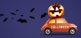 Halloween-pompoen op auto stock afbeeldingen