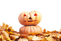 Halloween-pompoen op de herfstbladeren op witte achtergrond worden geïsoleerd die Royalty-vrije Stock Afbeeldingen