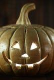 Halloween-Pompoen op de Houten Achtergrond van Grunge Rustick Royalty-vrije Stock Foto's