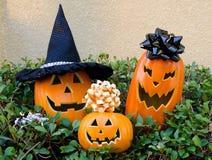 Halloween-pompoen op een gras Stock Afbeelding