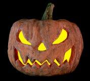 Halloween-pompoen op een zwarte die achtergrond van karton wordt gemaakt Stock Afbeelding