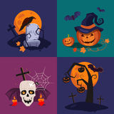 Halloween-Pompoen, Schedel en Ernstige Vector vector illustratie