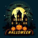 Halloween-pompoen vectorkaart Stock Foto's