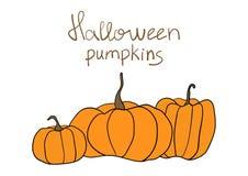 Halloween-Pompoen Vectorpatroon Eenvoudige pompoenen op witte achtergrond voor Web-pagina achtergrond, verpakkend document Stock Fotografie