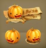 Halloween-Pompoen, vectorpictogrammen Stock Fotografie