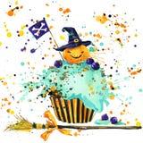 Halloween-pompoen, voedsel en magische heksenhoed de achtergrond van de waterverfillustratie Stock Fotografie
