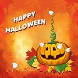 Halloween, pompoenbladeren, affiches, children& x27; s illustratie, kaart op een oranje achtergrond Stock Afbeeldingen