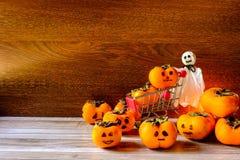 Halloween-Pompoenconcept en Spoken stock foto's