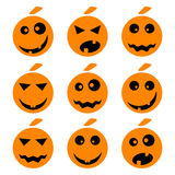 Halloween-pompoenemoji emoticons plaatste royalty-vrije illustratie