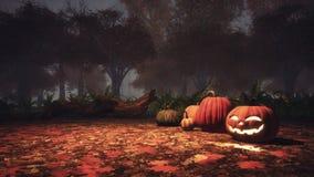 Halloween-pompoenen in achtervolgd bos bij nevelige schemer stock illustratie