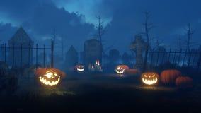 Halloween-pompoenen bij nachtbegraafplaats Royalty-vrije Stock Afbeeldingen