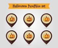 Halloween-pompoenen die de reeks van het speldpictogram in kaart brengen Royalty-vrije Stock Fotografie