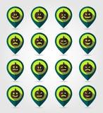 Halloween-pompoenen die de reeks van het speldpictogram in kaart brengen Royalty-vrije Stock Foto