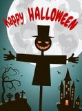 Halloween-pompoenen en donker kasteel op een blauwe Maan als achtergrond Stock Foto