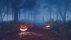 Halloween-pompoenen en onverbiddelijke maaimachine in een bos Stock Foto's