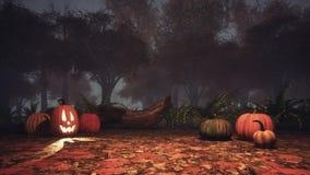 Halloween-pompoenen in griezelig de herfstbos bij schemer stock illustratie